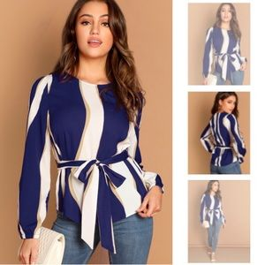 BLUE STRIPED BELTED WAIST TOP